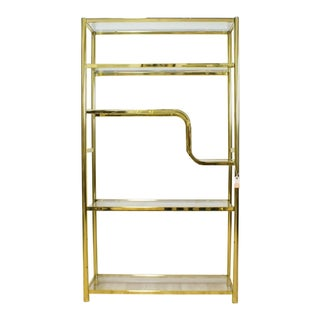 Milo Baughman Style Brass and Glass Etagere