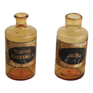 Vintage Amber Apothecary Jars - A Pair