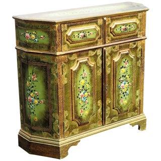 Venetian Style Demilune Floral Cabinet
