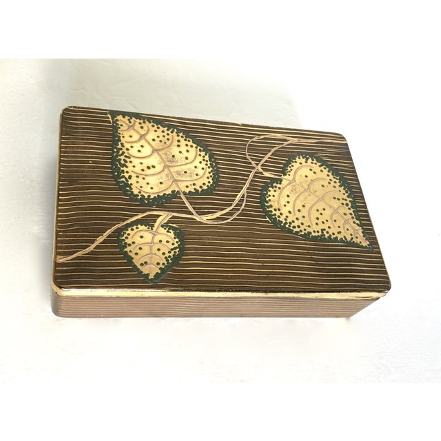Hand-Painted Leaf Motif Trinket Box - Image 3 of 5