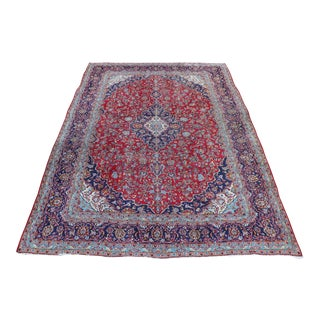 1980s Red & Navy Persian Rug - 8′4″ × 12′6″