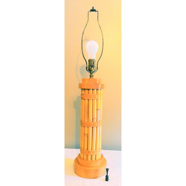 Image of Vintage Regency Style Bamboo Lamp