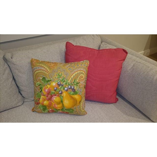 Red Silk Satin & Colorful Fruit Print Sofa Decorative Pillow Chairish