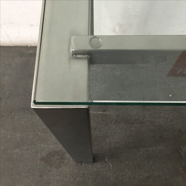Modern Custom Steel & Glass Console Table - Image 6 of 9