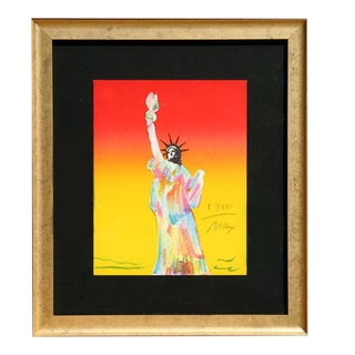 "1980 Peter Max ""Statue of Liberty (Red/Yellow)"" Print"