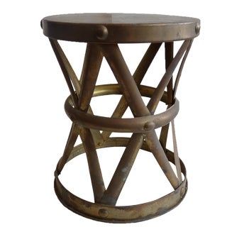 Brass Drum Stool Side Table