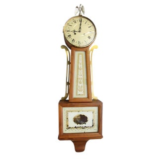 Antique Wall Clock With Painted Porcelain Face