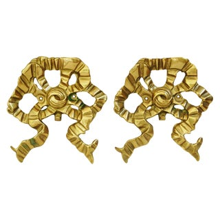 Vintage 1950s Brass Ribbon Bow Wall Hooks - A Pair