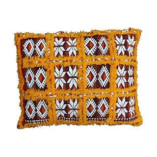 Orange Grid & Sequins Berber Pillow I
