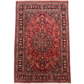 Hand Knotted Persian Mashad Rug - 6′4″ × 10′4″
