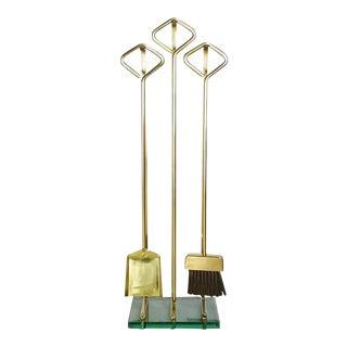 1970s Fontana Arte Style Solid Brass Fireplace Tools