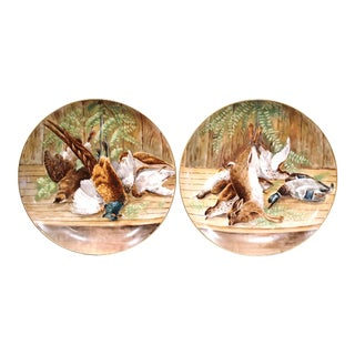 19th Century French Hand-Painted Porcelain Hunting Scenes Wall Platters - a Pair