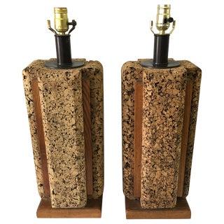 Vintage Cork Lamps - Pair