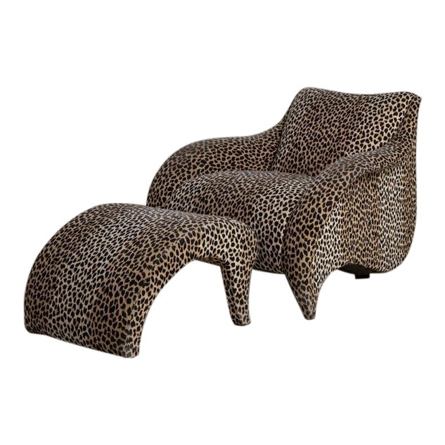 A Leopard Print Chair and Stool by Vladimir Kagan - Image 1 of 6