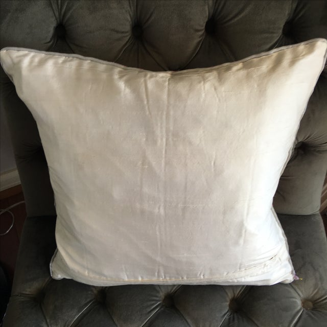 Luxury Raw Silk Embroidered Accent Pillow - Image 5 of 5