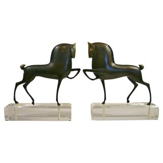 Brass and Lucite Trojan Horse Bookends