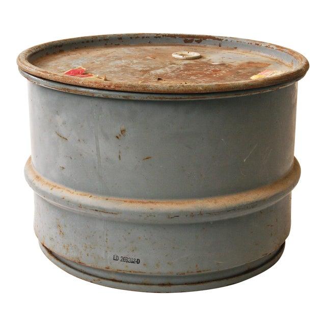 Vintage Industrial Gray Metal Barrel with Lid - Image 1 of 11