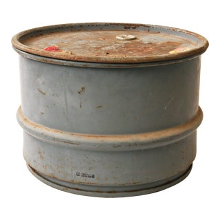 Vintage Industrial Gray Metal Barrel with Lid