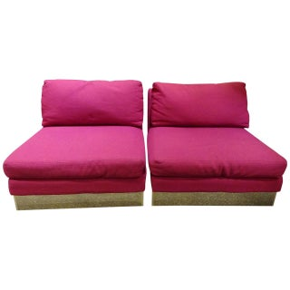 Milo Baughman Style Mulberry Lounge Chairs - A Pair