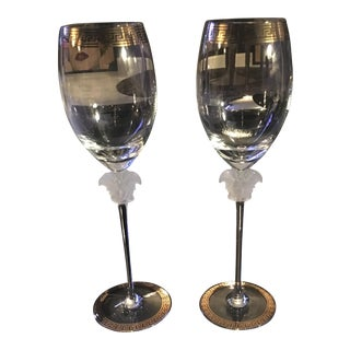 Gianni Versace Rosenthal 1993 Medusa d'Or Wine Glasses - A Pair