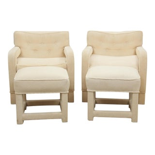 Milo Baughman Attributed Upholsted Armchairs and Ottomans, Set of 4