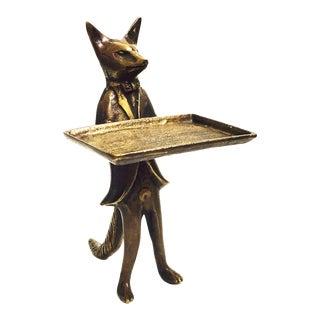 Vintage Brass Fox Business Card Dish