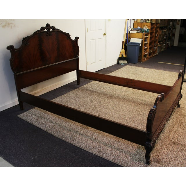 Image of French-Style Flamed Mahogany Carved Full Bed Frame
