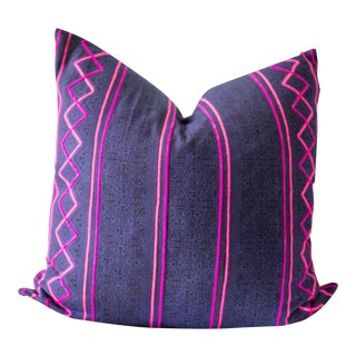 "Purple & Black Hmong Pillow Cover - 20"" x 20"""