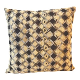 African Embroidered Kuba Textile Pillow