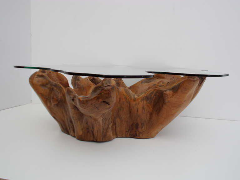 Stunning Vintage Teak Root Coffee Table With Custom Cut Glass Top   Image 6  Of 7