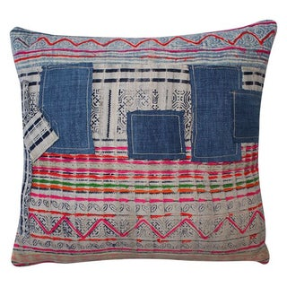 Vintage Embroidered Batik Patchwork Pillow
