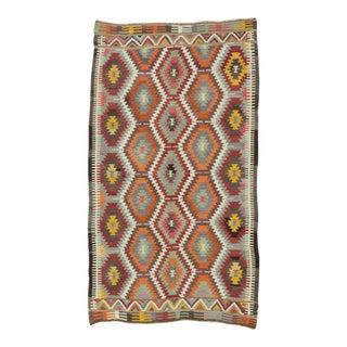 Handwoven Vintage Turkish Kilim Area Rug - 4′10″ × 8′5″