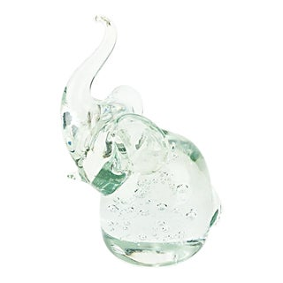 Vintage Glass Elephant Paperweight