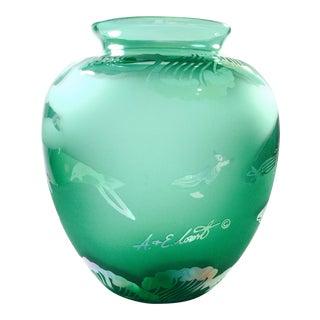 Green Arthur Court Vase Signed A&E Court