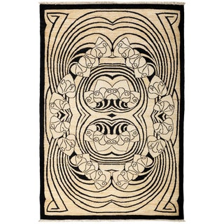 """Contemporary Hand Knotted Area Rug - 4'1"""" X 6'"""