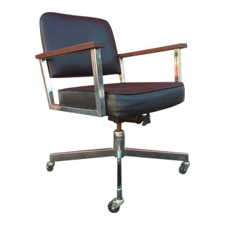 Mid-Century Wheeled Desk Chair With Chrome & Wood