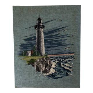 Vintage Lighthouse & Shore Scene Embroidery Art