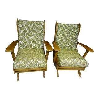 Mid-Century Cushman Style Colonial Platform Rocking Chairs - A Pair