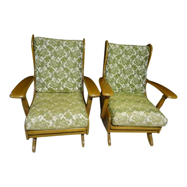 Mid-Century Cushman Style Colonial Platform Rocking Chairs - A Pair - Image 1 of 8