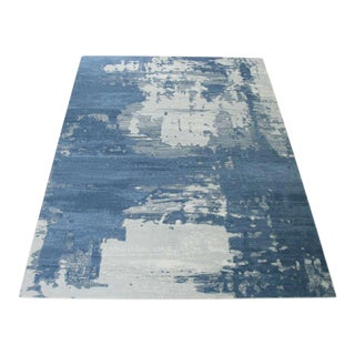 Abstract Blue Rug -- 5'3'' X 7'7''