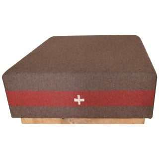 Vintage Swiss Army Blanket Coffee Table Ottoman