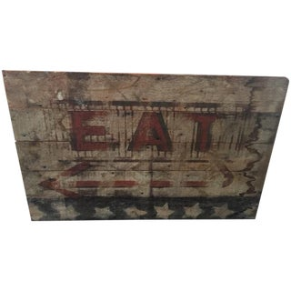 "Parvez Taj Americana ""Eat"" Painted Wood Wall Art"