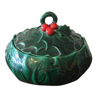 1950's Christmas Holly & Berry Lidded Candy Dish