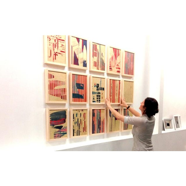 Image of Modern 'Red Meets Blue #5' Framed Print