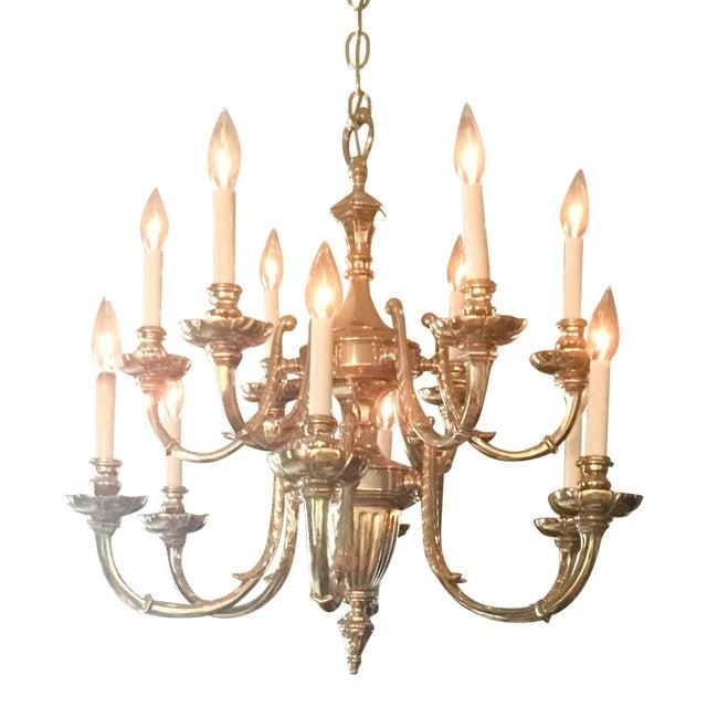 Image of 12-Light Brass Chandelier