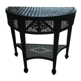 Brown Wicker Demilune Table