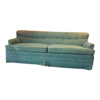 Mid-Century Blue Aqua Tweed Tufted Sofa