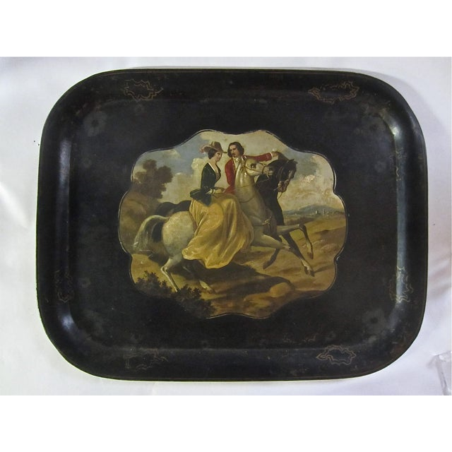 Antique Tole Painted Tray Equestrian Scene - Image 2 of 6