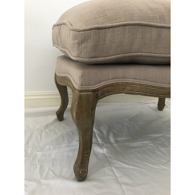 French Style Linen Ottoman - Image 3 of 5