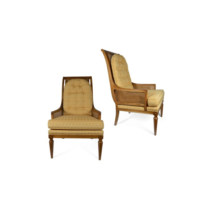 Image of Mid-Century Cane Club Chairs - Pair